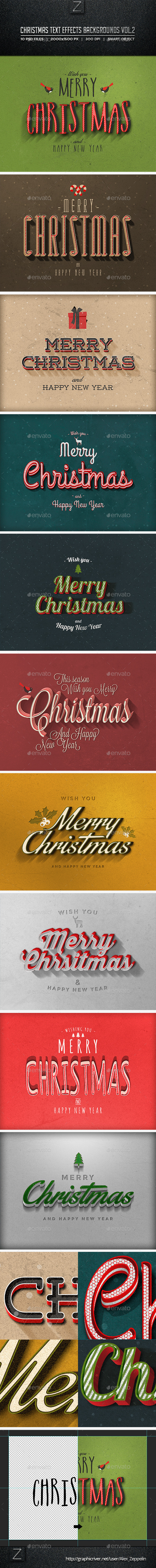 Christmas Text Effects Backgrounds Vol.2 - Backgrounds Graphics