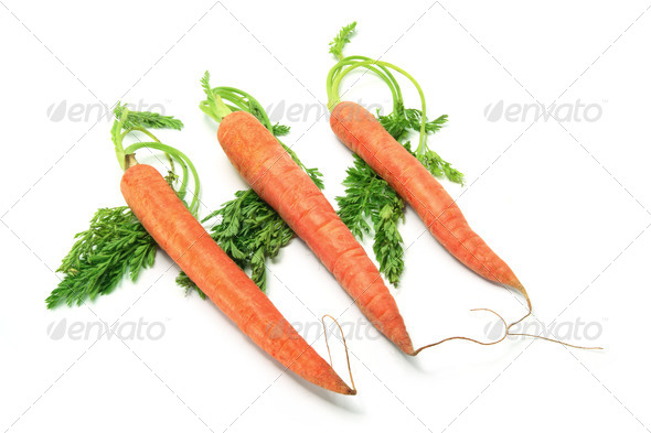 Carrots with Leaves on White Background - Stock Photo - Images