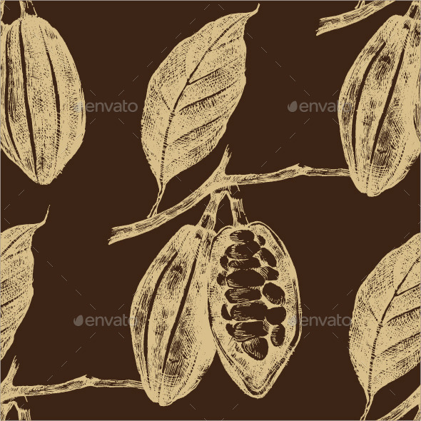 Hand Drawn Cocoa Beans Seamless - Nature Conceptual