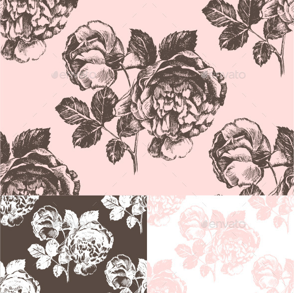 Seamless Pattern with Hand Drawn Roses - Flowers & Plants Nature