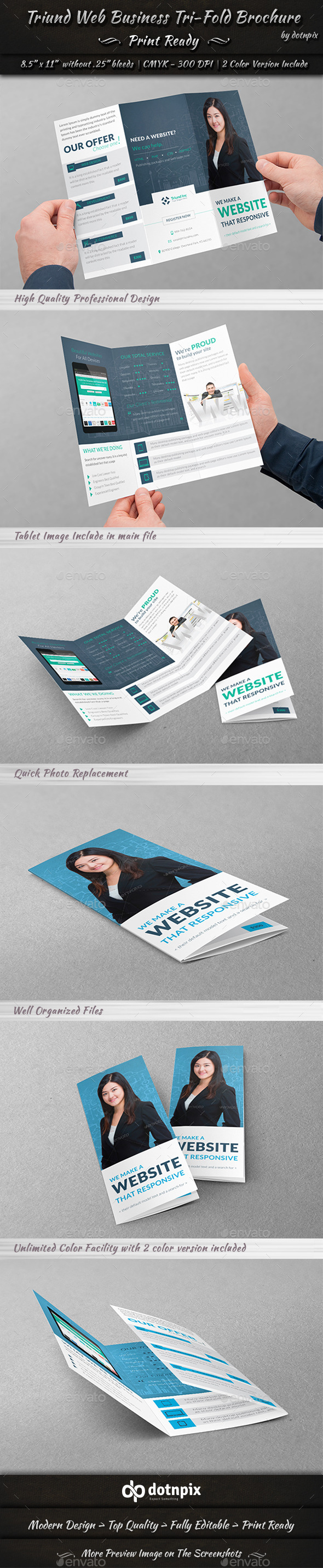 Triund Web Business Tri-Fold Brochure - Corporate Brochures