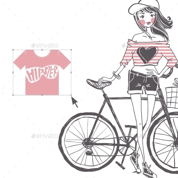 Hipster Teenage Girl on Her Vintage Bike - Miscellaneous Vectors