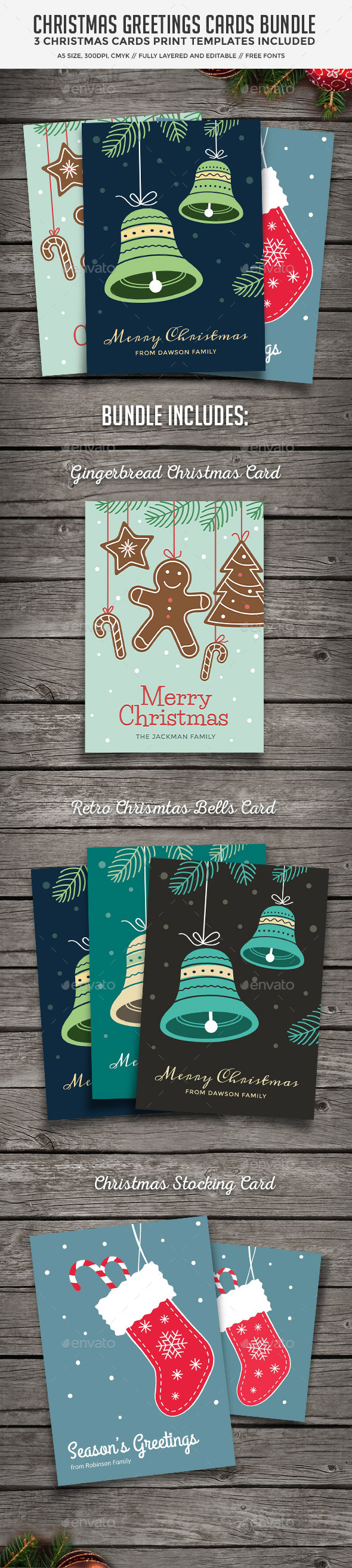 Christmas Cards Bundle - Holiday Greeting Cards