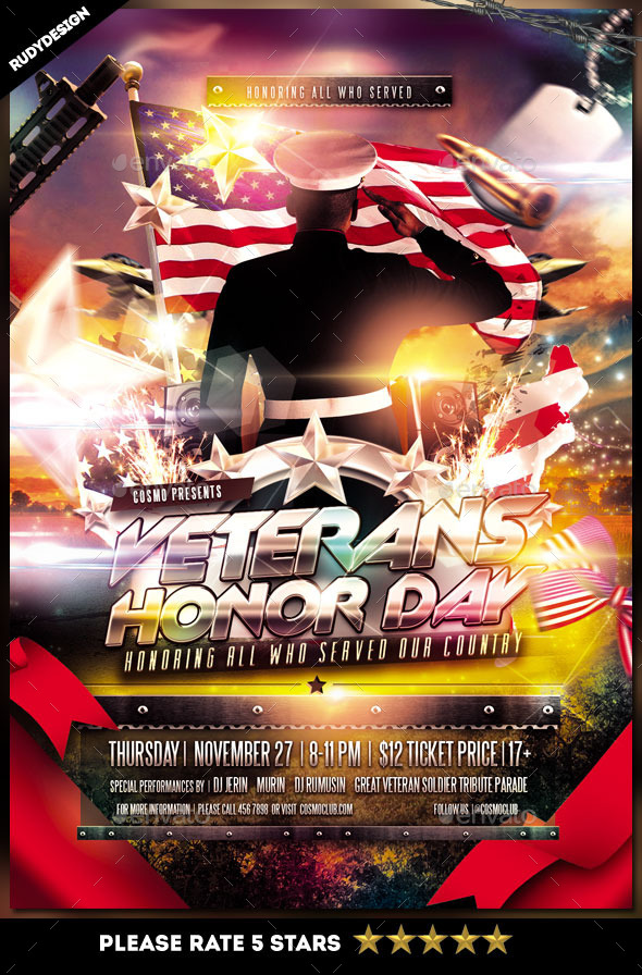 Veterans Day Flyer Template - Clubs & Parties Events