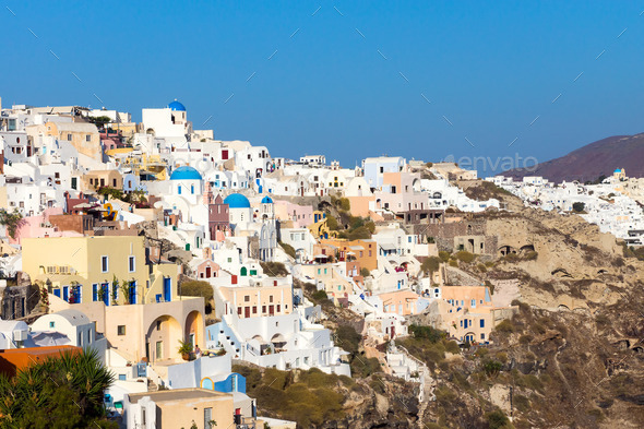 Oia on Santorini island  - Stock Photo - Images