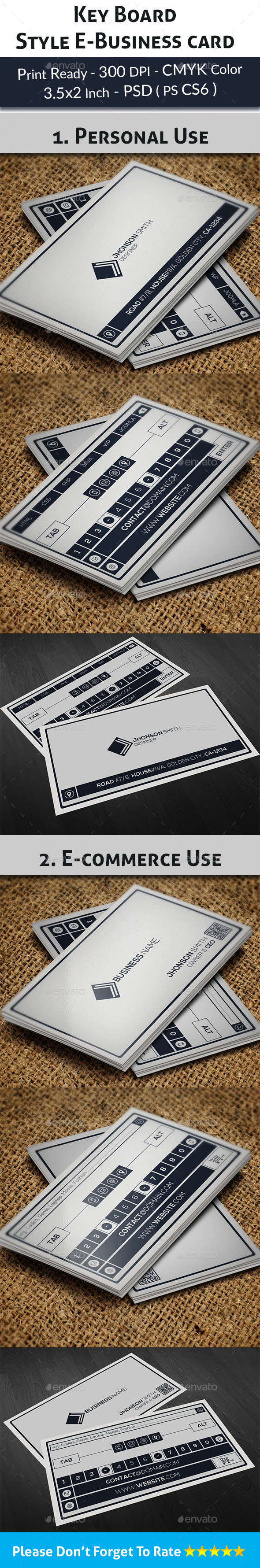 Key Board Style Business Card - Real Objects Business Cards