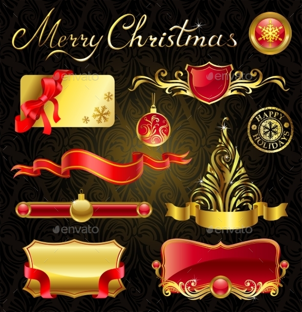 Christmas Golden Design Elements - Christmas Seasons/Holidays
