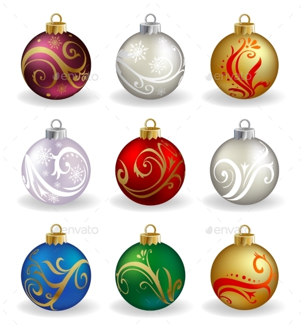 Set of Nine Christmas Baubles - Christmas Seasons/Holidays