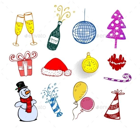 Set of Christmas Ornaments  - Christmas Seasons/Holidays