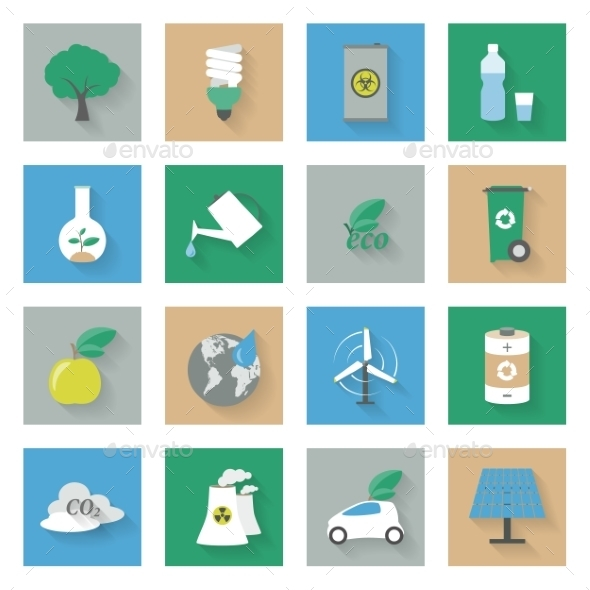 Ecology Flat Icons Set with Shadows - Web Elements Vectors