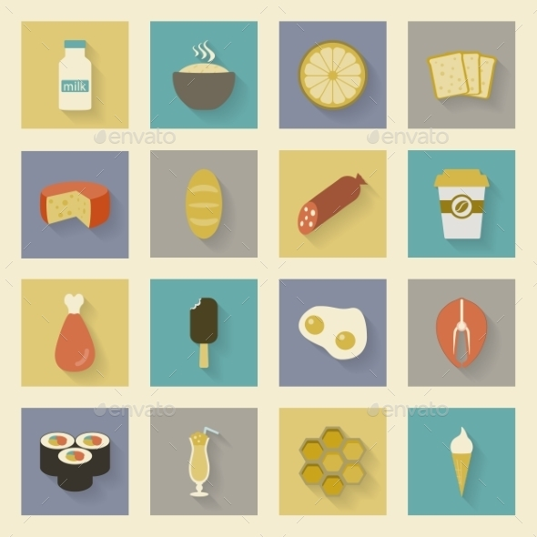 Food Flat Icons Set - Food Objects