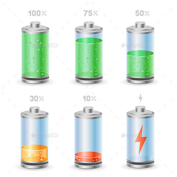 Battery Icon Set - Technology Conceptual