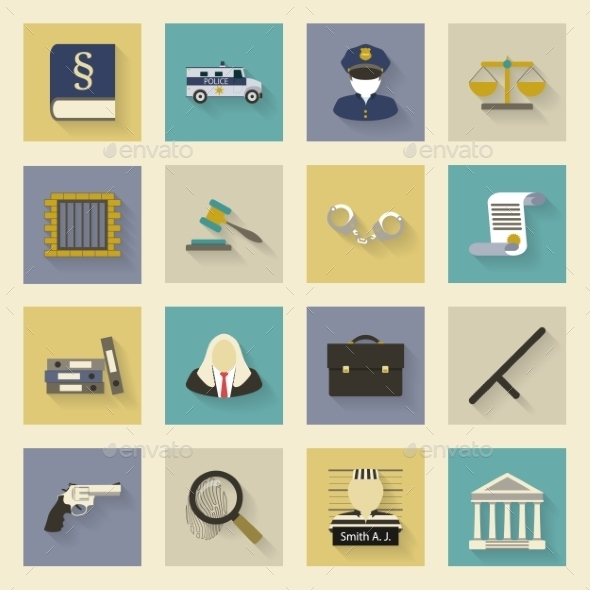 Law and Justice Flat Icons Set with Shadows - Miscellaneous Vectors