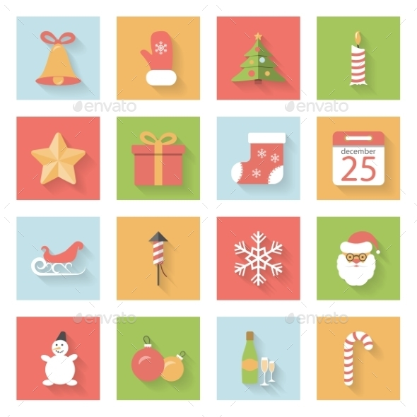 Christmas and New Year Flat Icons Set with Shadows - Web Elements Vectors