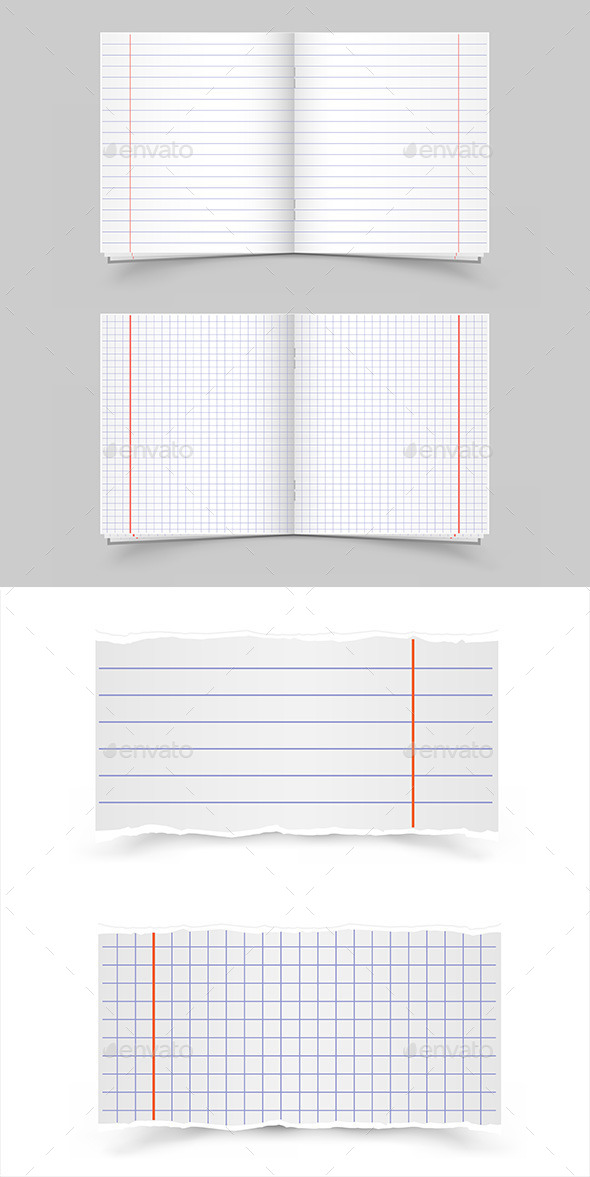School Notebooks - Objects Vectors