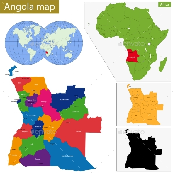 Angola Map - Travel Conceptual