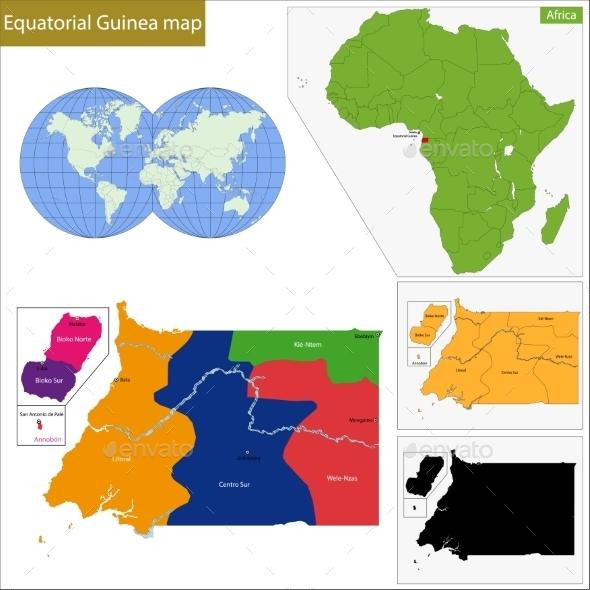 Equatorial Guinea Map - Travel Conceptual