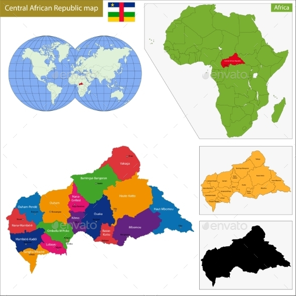 Central African Republic Map - Travel Conceptual