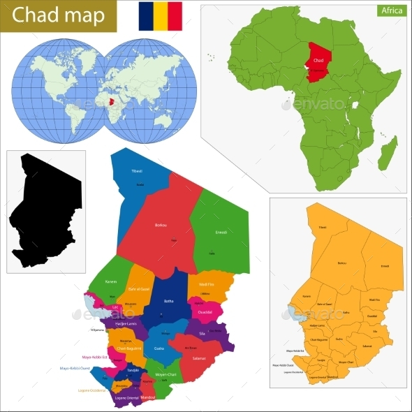 Chad Map - Travel Conceptual