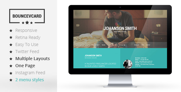 BOUNCE - Responsive One Page Vcard Template - Virtual Business Card Personal