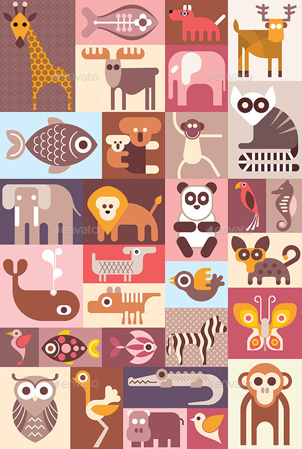 Animals Vector Illustration - Animals Characters