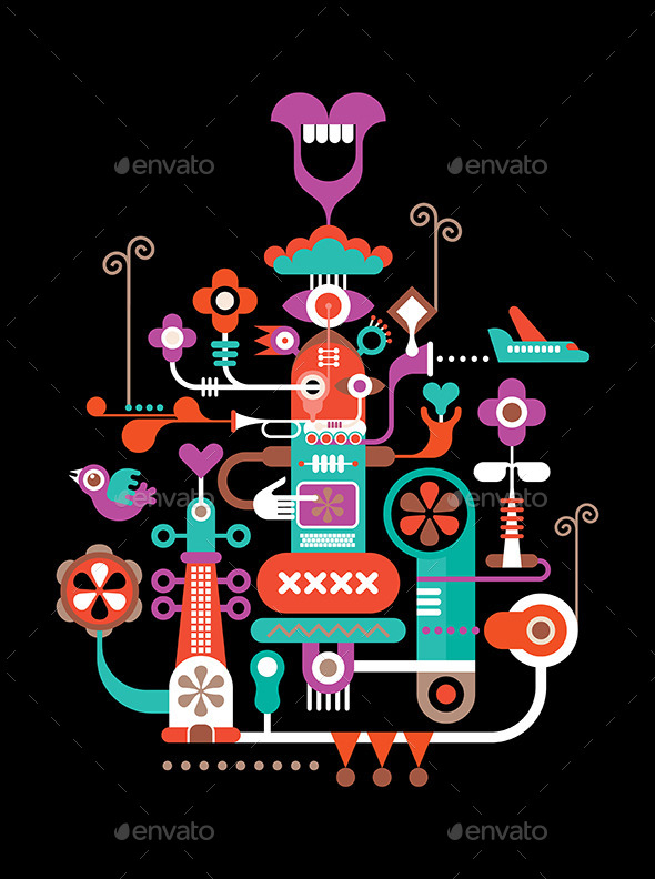 Abstract Figure Composition - Decorative Vectors