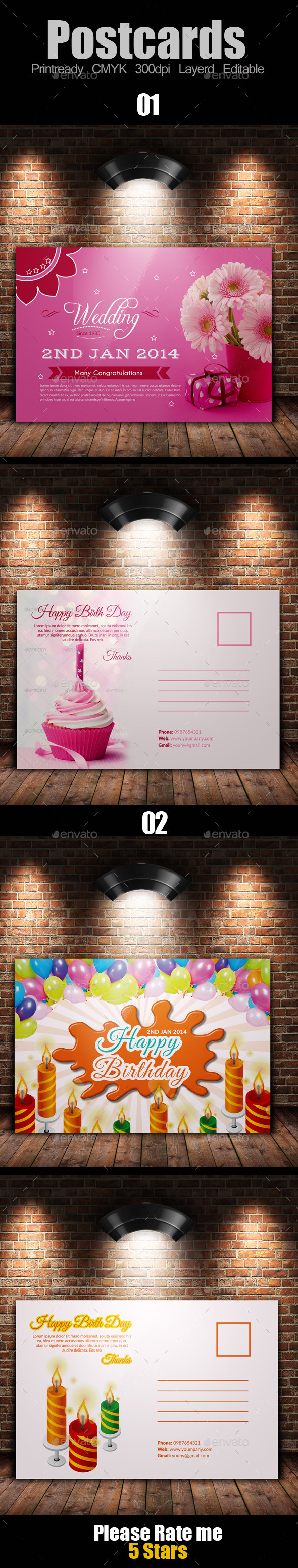 Birth Day Invitation Postcard Bundle - Cards & Invites Print Templates