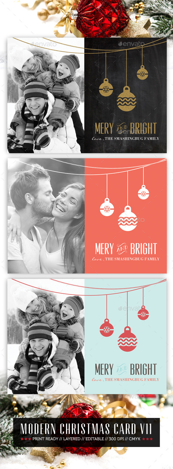 Modern Christmas Card V11 - Holiday Greeting Cards