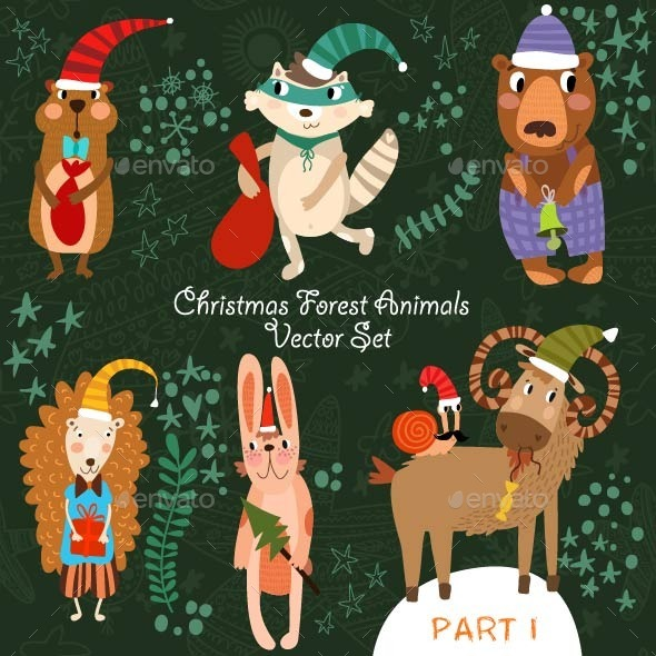 Christmas Vector Set of Forest Animals - Vectors