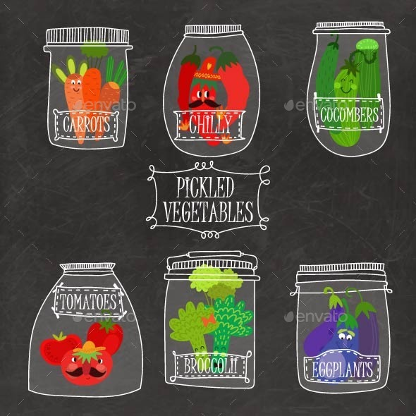 Pickled Vegetables Set - Vectors