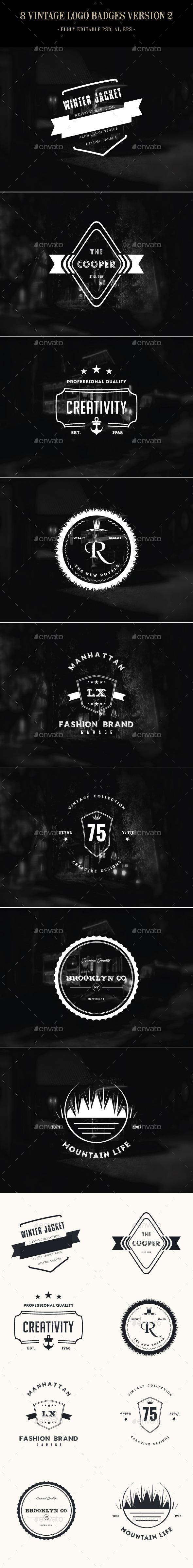8 Vintage Logo Badges Version 2 - Badges & Stickers Web Elements