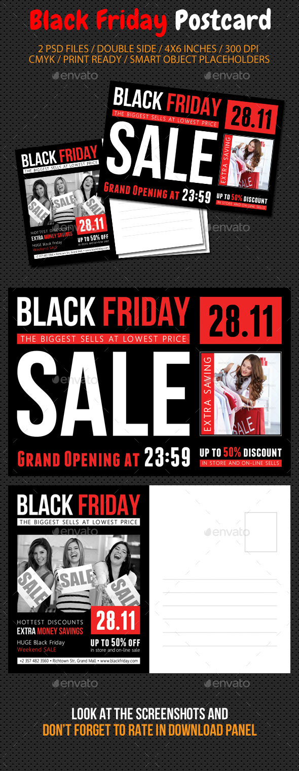 Black Friday Postcard Template V02 - Cards & Invites Print Templates