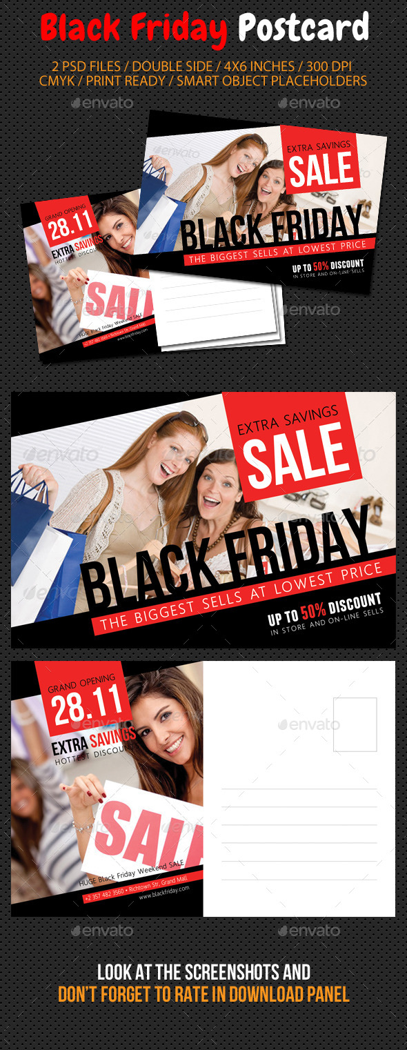 Black Friday Postcard Template V03 - Cards & Invites Print Templates