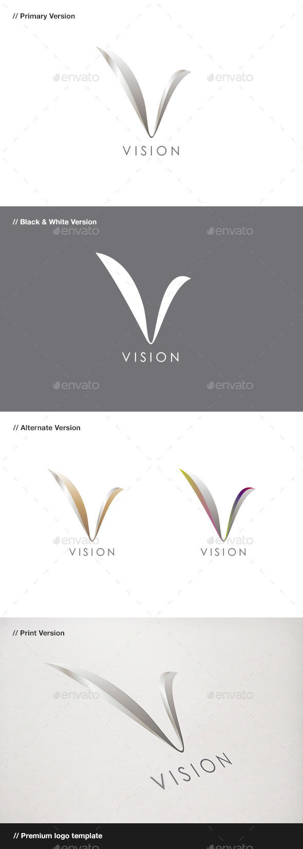 Vision - Abstract & Letter V Logo - Abstract Logo Templates