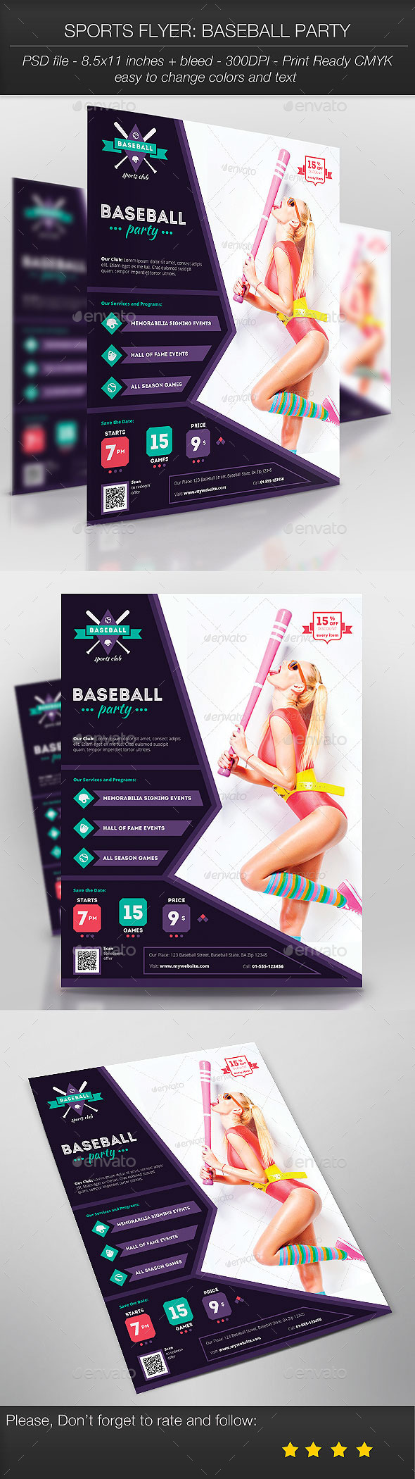 Sports Flyer: Baseball Party - Sports Events