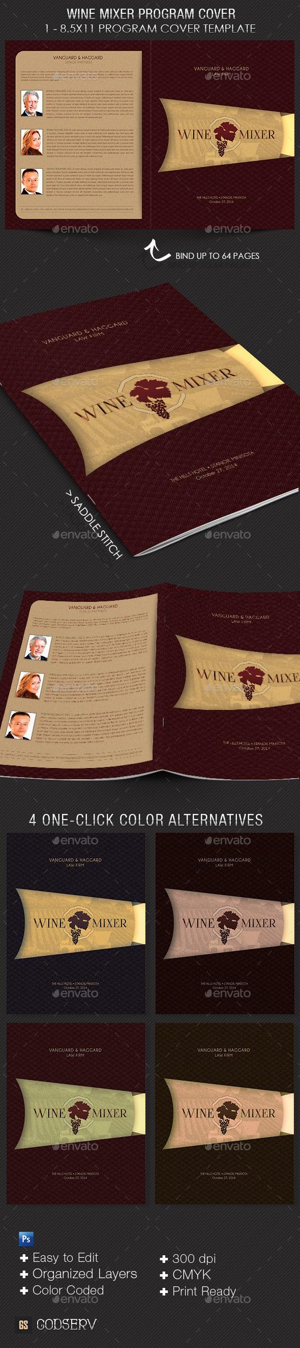 Wine Chocolate Mixer Program Cover Template - Informational Brochures