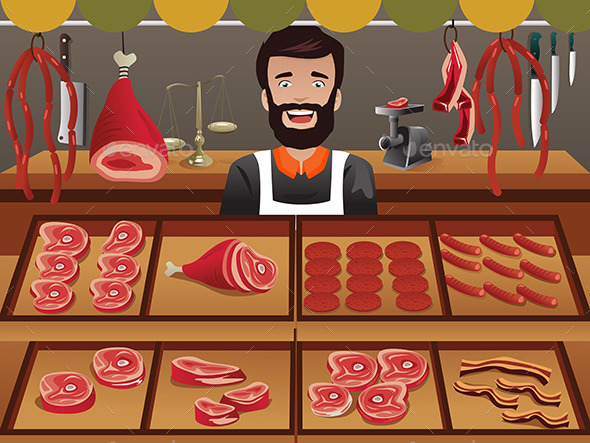 Meat Seller in a Farmer Market - Retail Commercial / Shopping