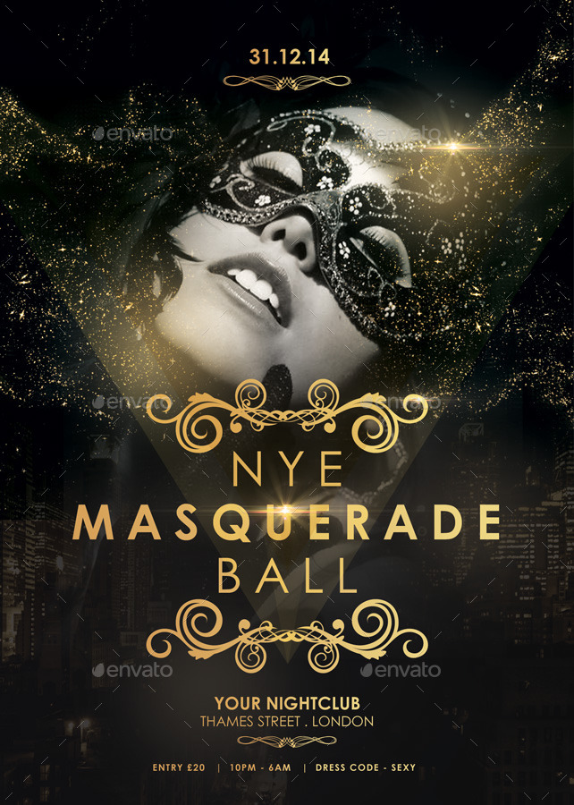 nye masquerade ball flyer by spacemandesign