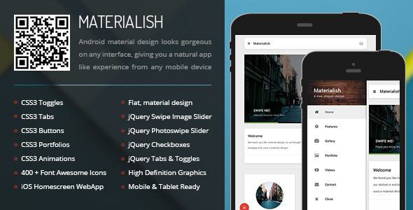 Materialish Mobile | Mobile Template