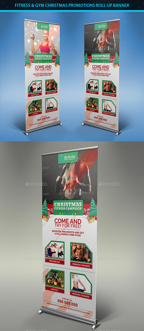 Fitness & Gym Christmas Promotions Roll Up Banners - Signage Print Templates