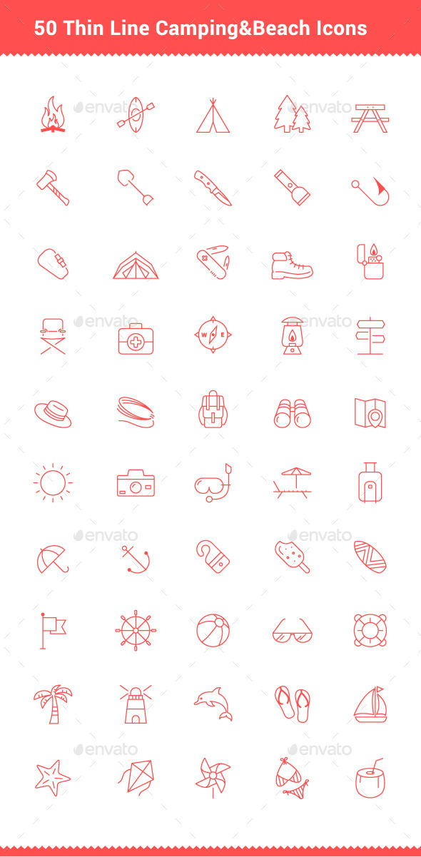 50 Thin Line Stroke Camping and Beach Icons - Objects Icons