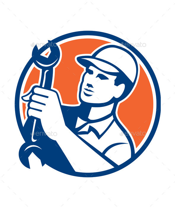 Mechanic Holding Spanner Wrench Circle Retro - People Characters