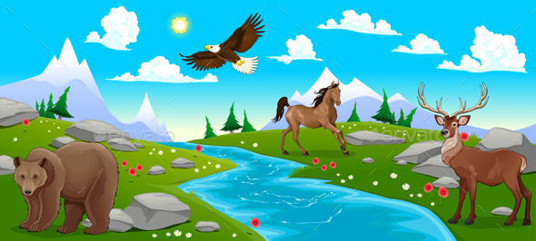 Mountain Landscape with River and Animals - Animals Characters