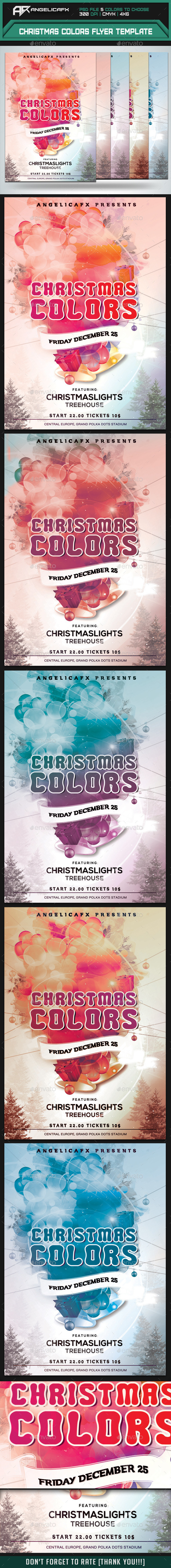Christmas Colors Party Flyer - Flyers Print Templates