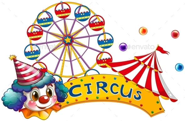 Circus Signboard with a Clown and a Tent - Seasons/Holidays Conceptual