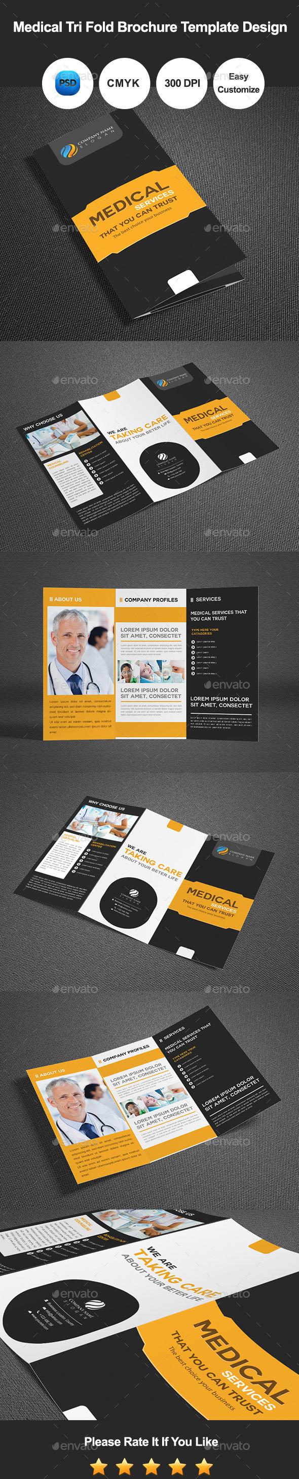Medical Tri Fold Brochure Template Design - Corporate Brochures