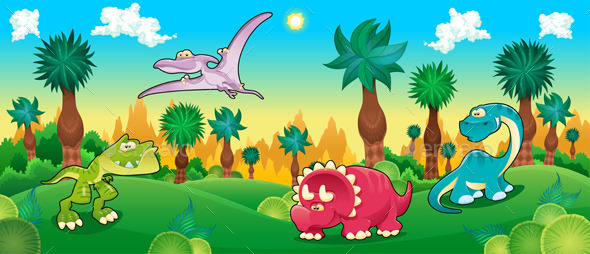 Green Forest with Dinosaurs - Animals Characters
