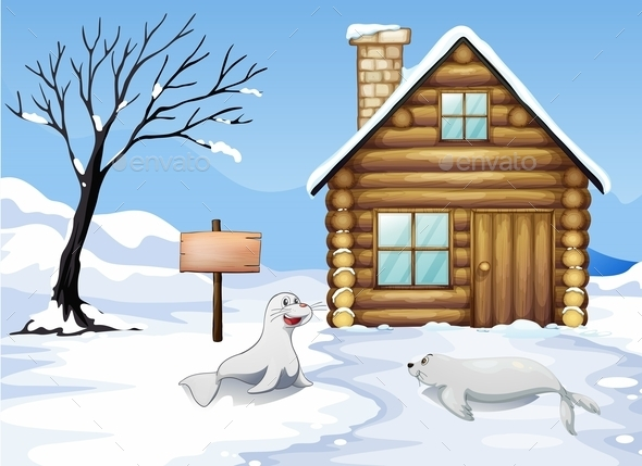 A Wooden Signboard in the Snow - Animals Characters