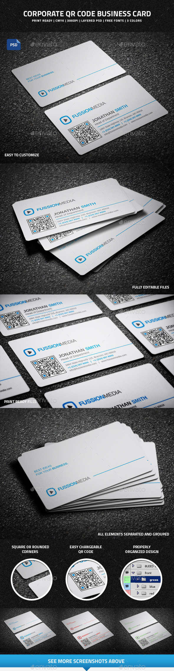 Corporate QR Code Business Card - 49 - Corporate Business Cards