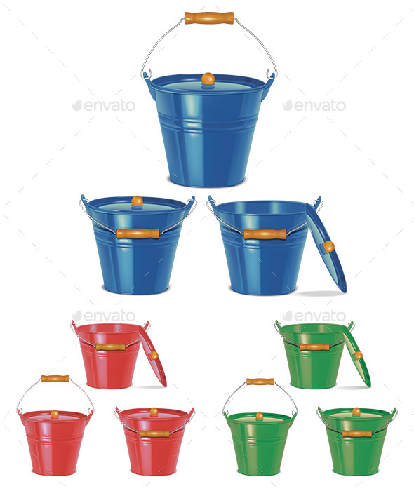 Metal Blue Buckets - Man-made Objects Objects